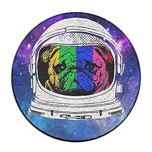 Babies Arco Iris de Astronauta Pug Antideslizante Alfombrillas Circular Alfombra Alfombrillas Comedor Dormitorio Alfombra Felpudo 23.6Pulgadas