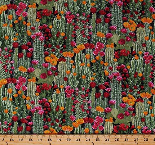 Cotton Cactus Cacti Prickly Pear Plants Floral Desert Flowers Succulents Nature Landscape Southwestern Cotton Fabric Print by The Yard (WEST-C6178-CACTUS) ()