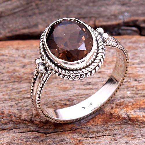 Natural Smoky Quartz,June Birth Stone,Woman Ring,Fashion Ring,engagement Ring,925 Silver Sterling Ring,Natural Gemstone,weddings Ring,