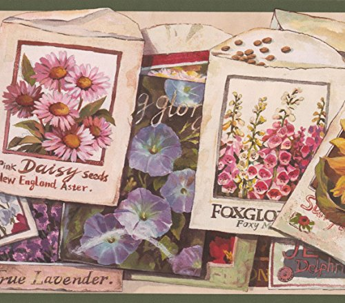 Flower Seeds Packets Vintage Wallpaper Border Retro Design, Roll 15' x 7''