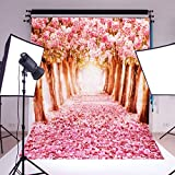 Mohoo 5x7ft Vinyl Photography Background Cherry Flower Street Photo Backdrop Studio Props
