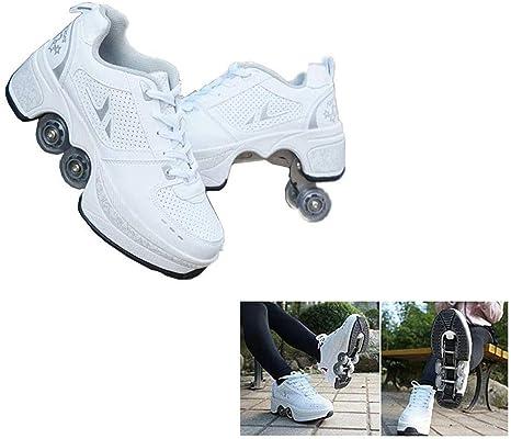 MLyzhe Rodillo Patinar Zapatos con Ruedas Retráctil Polea para Unisex Principiantes Regalo 2 En 1 Rodillo Patinaje Zapatillas: Amazon.es: Deportes y aire libre