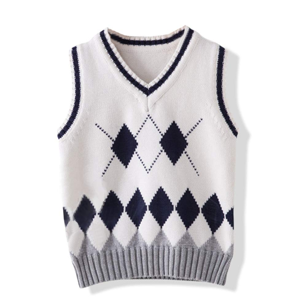 DAZISEN Kidss Sweater Vest Charm Charm College Uniform Vest