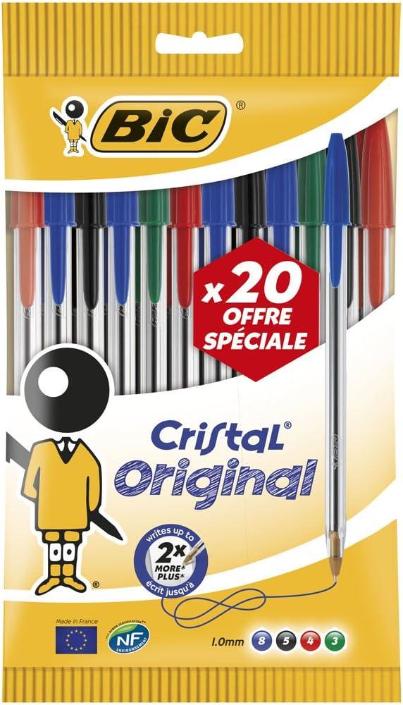 Negro//Azul//Rojo//Verde 912 671 Bic Cristal bol/ígrafo no extensible