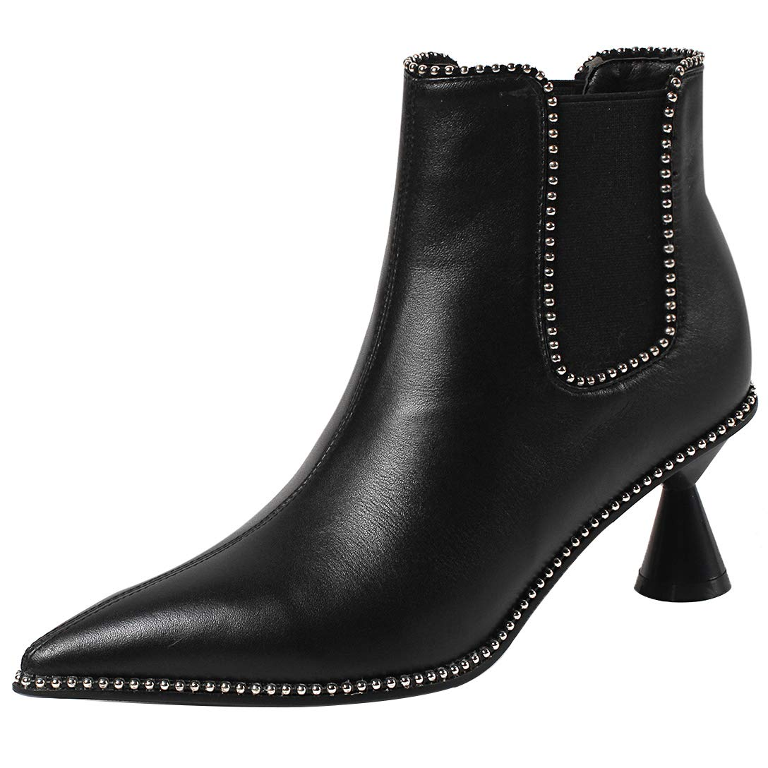 Black Eithy Women's Shadop Stiletto Ankle-high Zipper Leather Boots