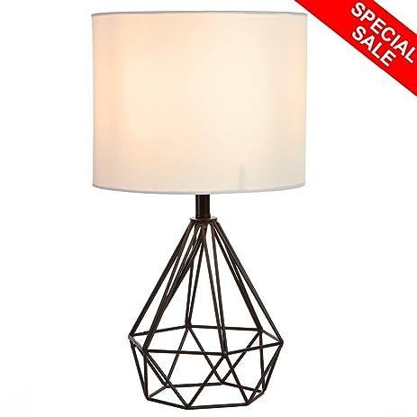 SOTTAE Black Hollowed Out Base Livingroom Bedroom Bedside Table Lamp,Desk  Lamp With White Fabric