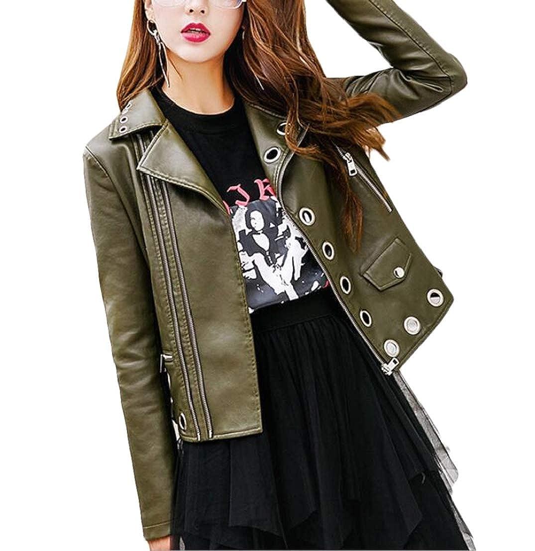 GRMO Women Faux Leather Hollow Out Rivet Oblique Zipper Motorcycle Biker Slim Notch Lapel Jacket