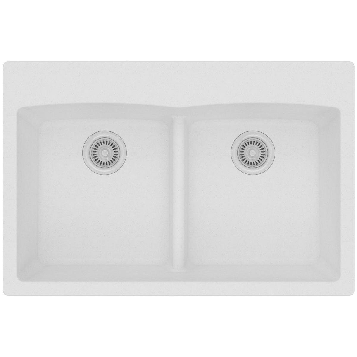 Elkay Quartz Classic ELGDLB3322WH0 White Equal Double Bowl Drop-In Sink with Aqua Divide