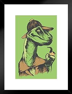 Poster Foundry Velociholmes Sherlock Holmes Dinosaur Humor Matted Framed Art Print Wall Decor 20x26 inch
