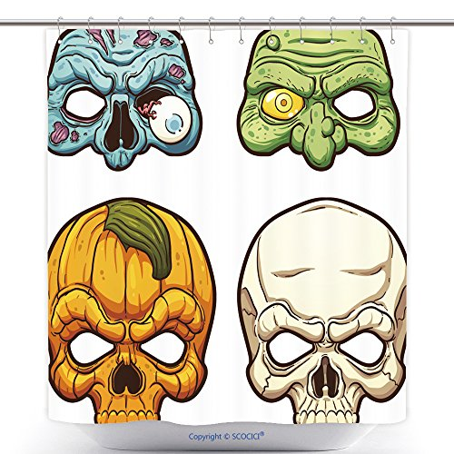 vanfan-Polyester Shower Curtains Halloween Masks Vector Clip Art Illustration Simple Gradients Each On A Separate Layer Polyester Bathroom Shower Curtain Set Hooks(72 x 96 inches)]()