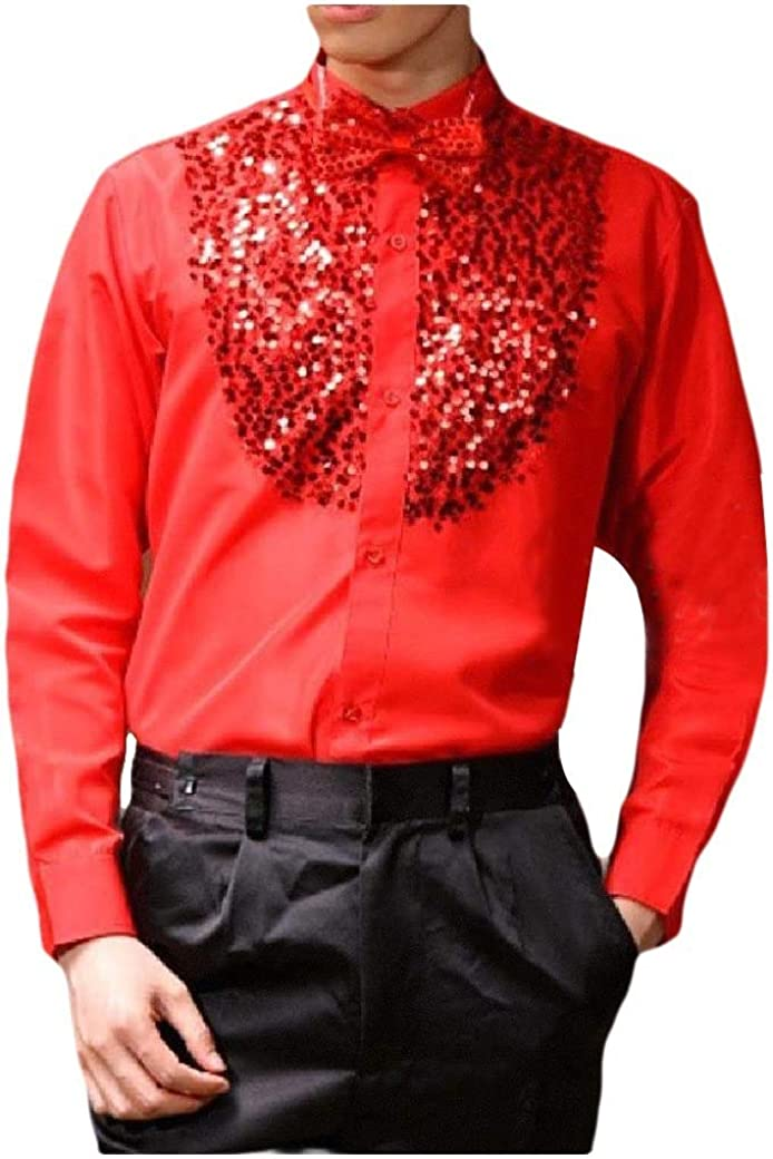 Abetteric Mens Western Shirt Sequin Glitter Stage Clothes Trim-Fit Blouse Tops