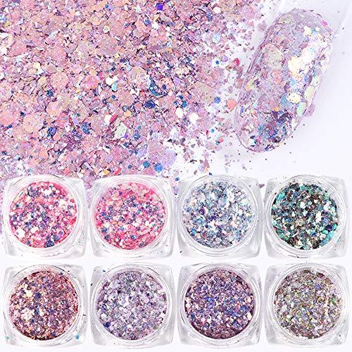 VOLODIA 8 Boxes/Set Holographic Nail Glitter Mermaid Powder Flakes Shiny Charms Hexagon Nail Art Pigment Dust Decoration Manicure
