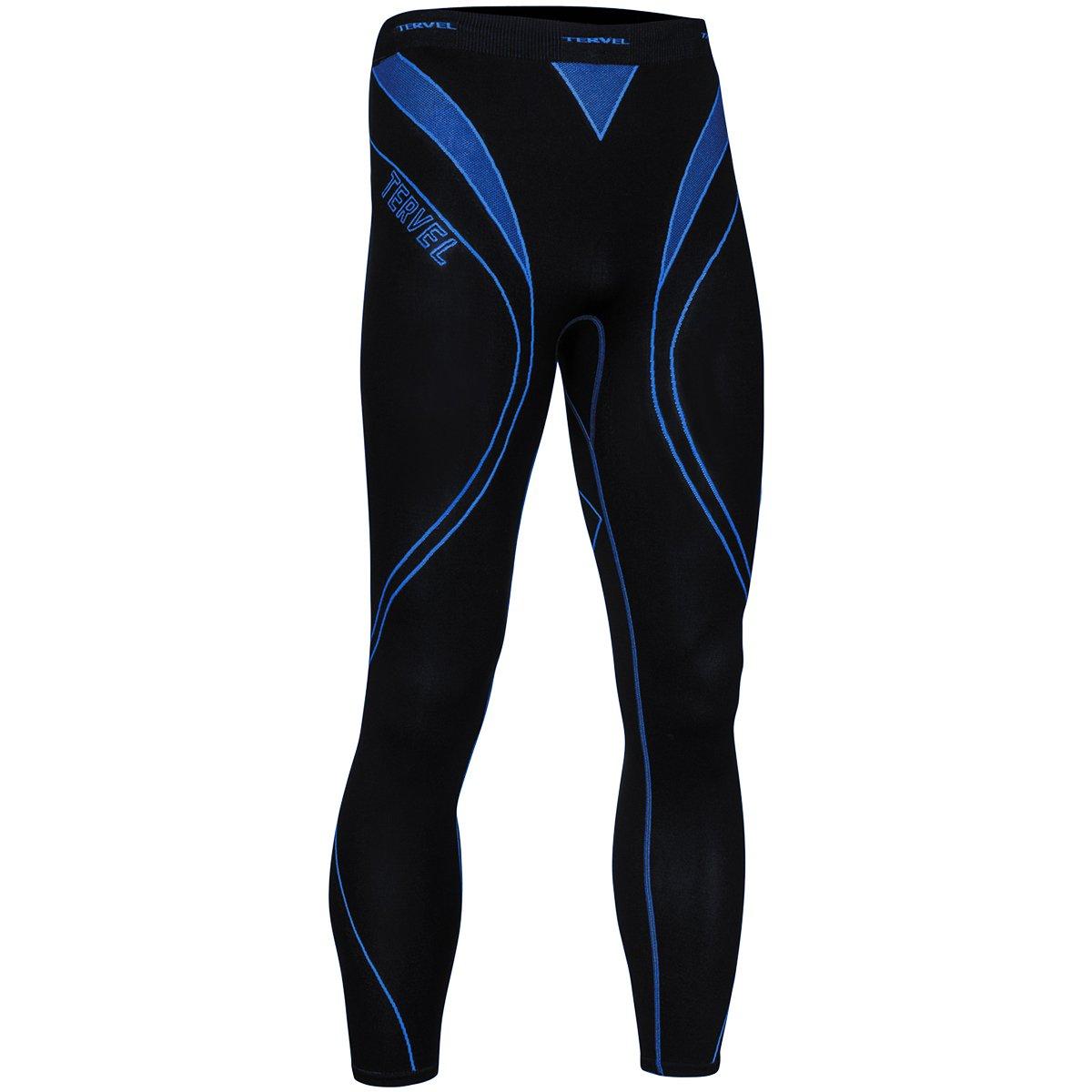 Tervel Mens Optiline Running Leggings Black//Blue
