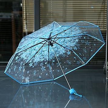 HAN-NMC Cherry Paraguas plegable paraguas transparente paraguas Niño mucho tiempo,E