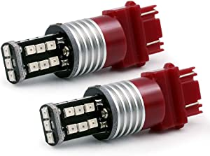 Syneticusa 3157 Red Flashing Strobe Blinking Rear Alert Safety Brake Tail Stop High Power LED Light Bulbs