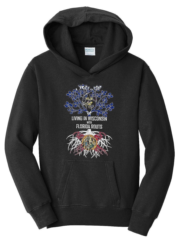 Tenacitee Girls Living in Wisconsin with Florida Roots Hooded Sweatshirt