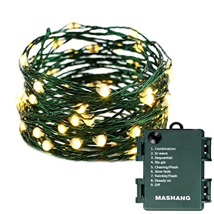 Micro Christmas Lights.Mashang Christmas Lights Battery String Lights 33ft 100 Micro Leds Starry Lights Fairy Lights Firefly Lights With Dark Green Copper Wire For Christmas