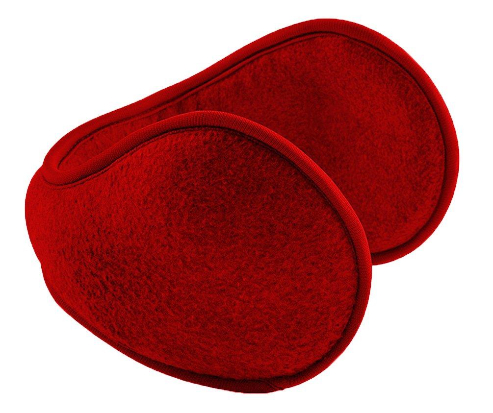 Peach Couture Unisex Wrap Around Polar Fleece Ear Band Earmuffs Ear Warmer (Red)