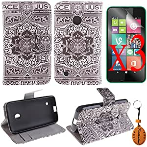 Traitonline® Protective Film + Key Chain + PU Leather Wallet Flip Cover with Credit Card ID/Pocket Money Slot for Nokia Lumia 530 Case