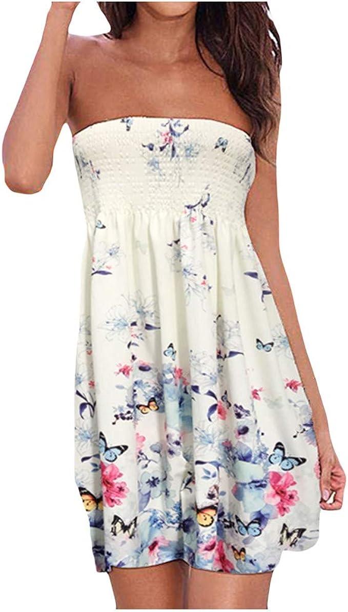 schön Longra Damen Bandeau Kleid Print Off-Shoulder Sommerkleid Bilder