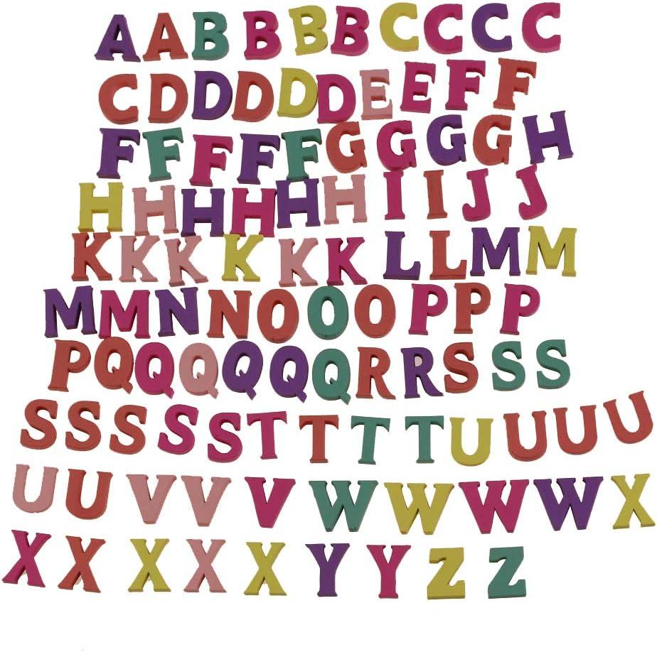100 baldosas de Scrabble del alfabeto de madera Letras y números mayúsculos coloridos para los artes de los artes Decoración de DIY exhibe palabras inglesas (capital letters): Amazon.es: Hogar