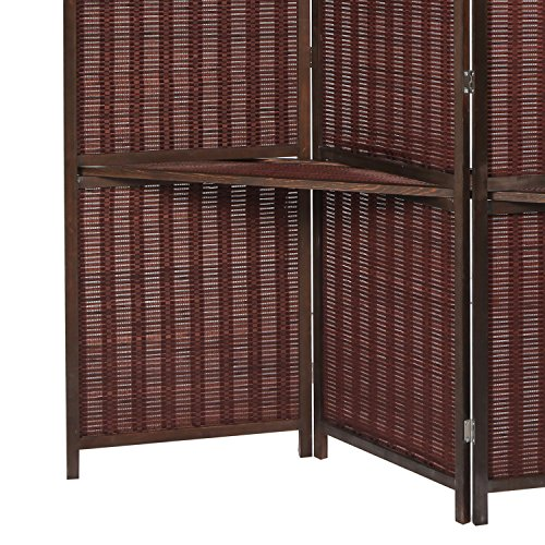 Deluxe Woven Brown Bamboo 4 Panel Folding Room Divider