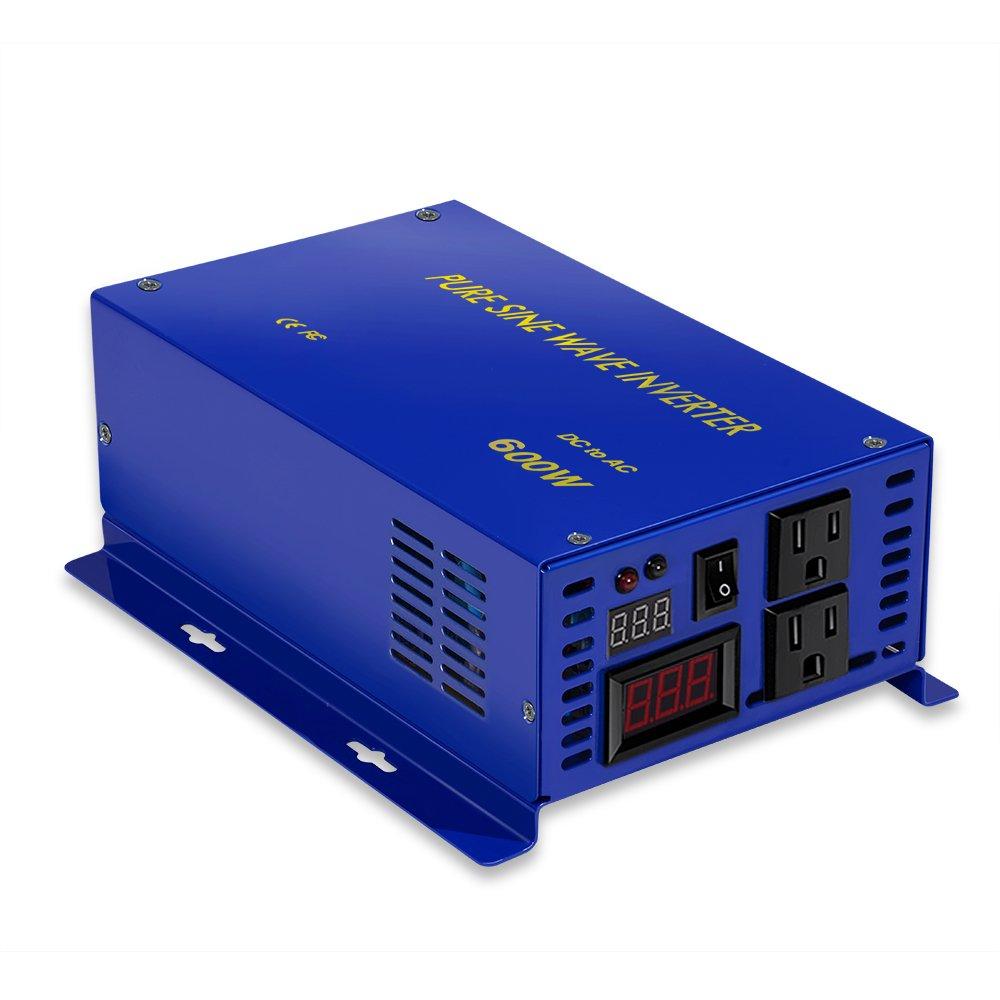 XYZ INVT 600w 24v to 120v Pure Sine Wave Solar System Home Power Inverter Converter Generator.(600W24V)