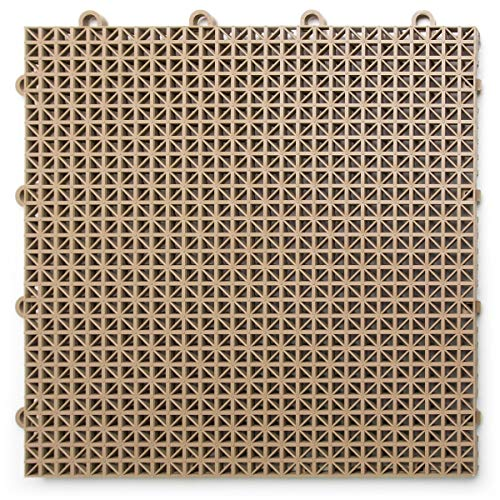 DuraGrid DT40BEIG Outdoor Modular Interlocking Multi-Use Deck Tile, 40 Pack, Beige, Piece (Carpet Best For Decks Outdoor)