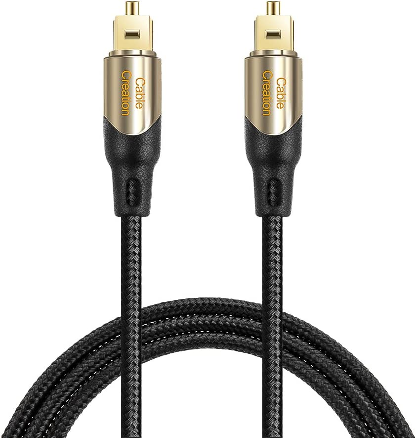 15 Feet Optical Audio Cable, CableCreation Fiber Digital Optical SPDIF Toslink Cable with Metal Connectors for Home Theater, Sound Bar, VD/CD Player, TV & More, Black&Gold / 4.5M