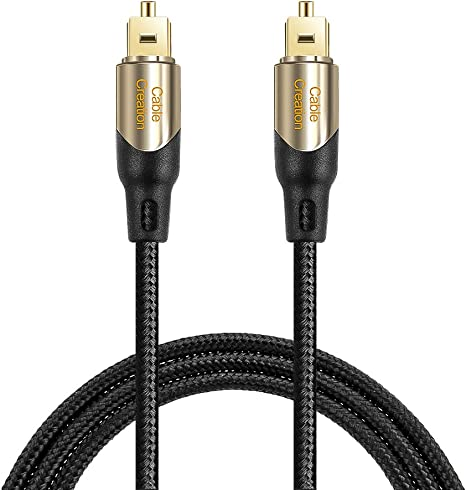 Braided Fiber Cable with Metal Connectors Black /& Gold// 15.2 Meters CableCreation 50 Feet Toslink Male to Toslink Male Digital Optical SPDIF Audio Cable
