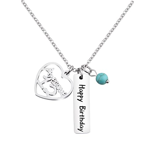 KUIYAI 12th Happy Birthday Necklace Gift Jewlery With Turquoise Bead