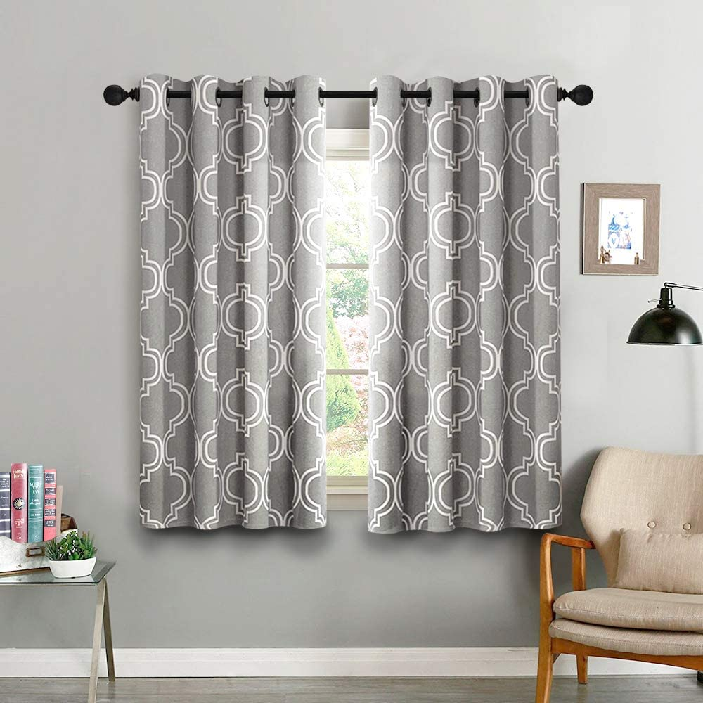 Vangao Room Darkening Curtains Quatrefoil Morrocan Tile Print Grey Drapes for Bedroom 54 inches 85% Blackout for Living Room Thermal Insulated, Grommet Top, 2 Panels,Gray