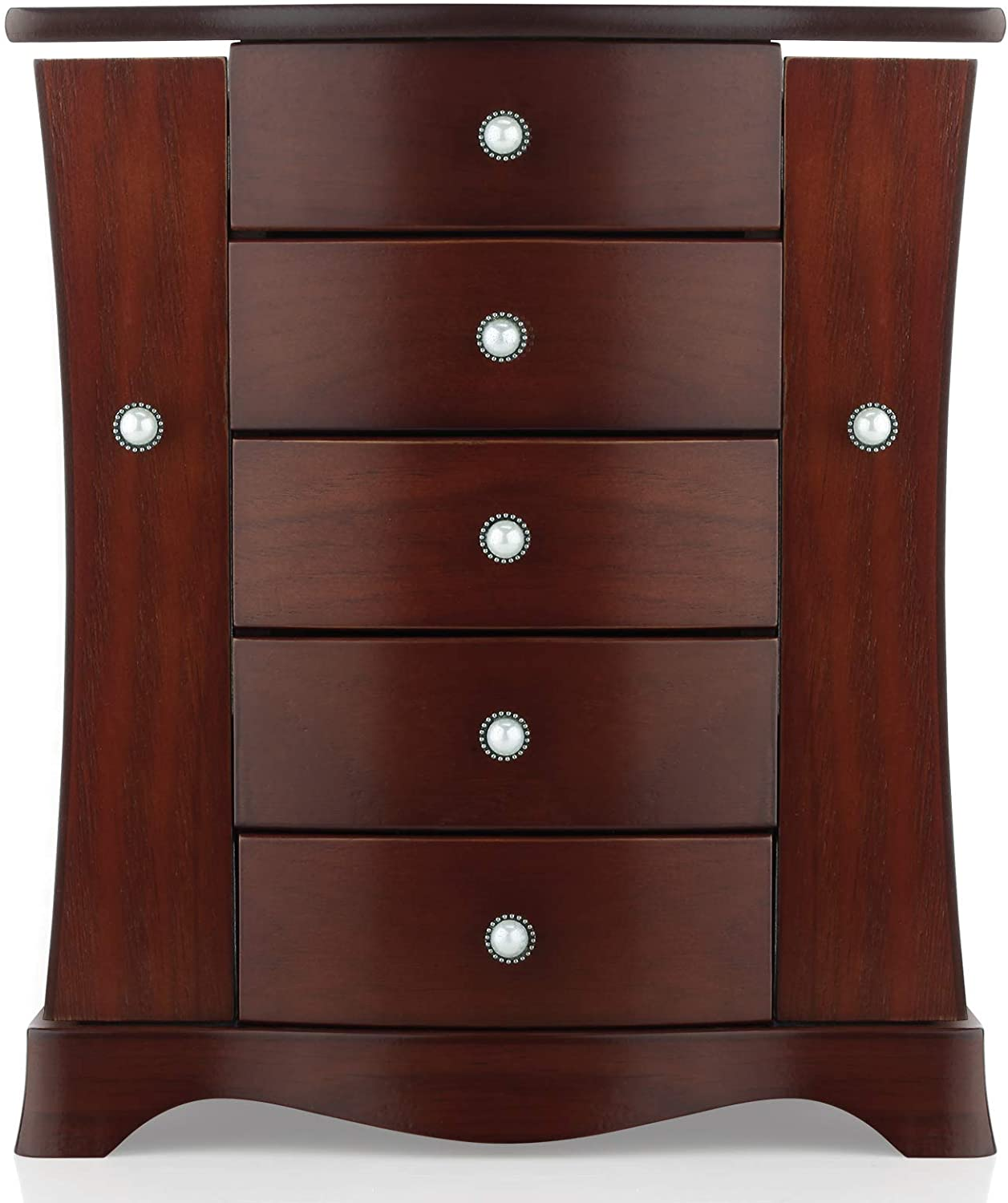 Jewelry Box - Made of Solid Wood with Tower Style 4 Drawers Organizer and 2 Separated Open Doors on 2 Sides and Large Mirror Brown: Home Improvement