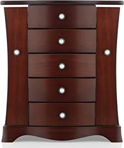 Jewelry Box - Made of Solid Wood with Tower Style 4 Drawers Organizer and 2 Separated Open Doors on 2 Sides and Large Mirror Brown