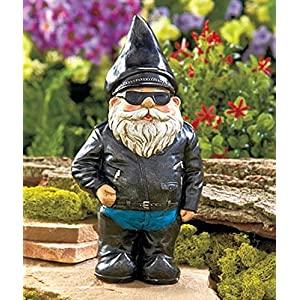 "Biker Garden Gnome Statue By Besti - Outdoor Garden Figurine In Motorcycle Leather Jacket - Excellent Garden Ornament / Yard Art - Funny Lawn Statue - Perfect Gift Idea 8- 3/4"" High"