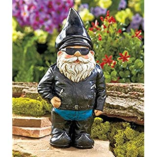 Lawn ornaments and statues funny do it yourselfore biker garden gnome statue by besti outdoor garden figurine in motorcycle leather jacket excellent solutioingenieria Gallery