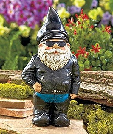 Amazoncom Biker Garden Gnome Statue By Besti Outdoor Garden