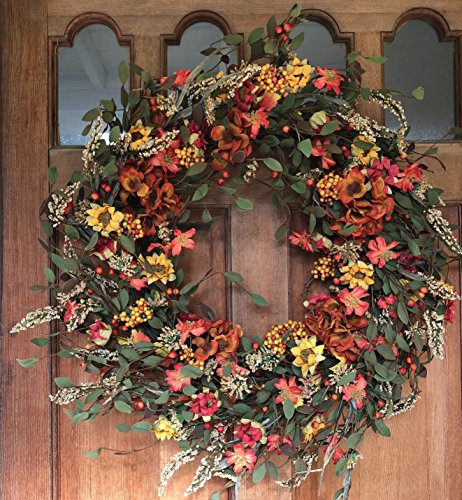 Front Door Wreath 22 inches - Lush and Beautiful Autumn Colors, Approved for Covered Outdoor Use, Beautiful White Gift Box Included ()