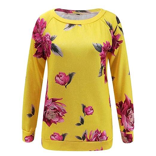 Bestow Camiseta de Manga Larga con Estampado Floral de Flores en Primavera y otoño. Top de Camiseta para Mujer Sudadera con Capucha: Amazon.es: Ropa y ...