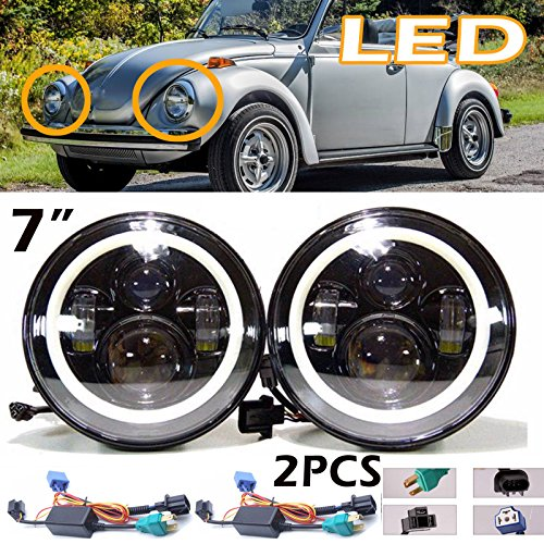 Beetle Classic (7 Inch For VW Beetle Classic LED Round Headlight Halo Ring Angel Eyes Hi/Low Double Beam DRL Amber Turning Signal Lights Replacement 6000K 6012 6014 6015 H6024 H6017 60W 2Pcs)