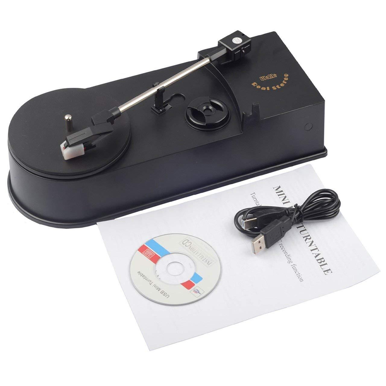 Jasnyfall Multifonction USB Mini Phonographe Platine Vinyle Lecteur Audio Convertir En CD MP3 (Couleur: noir)
