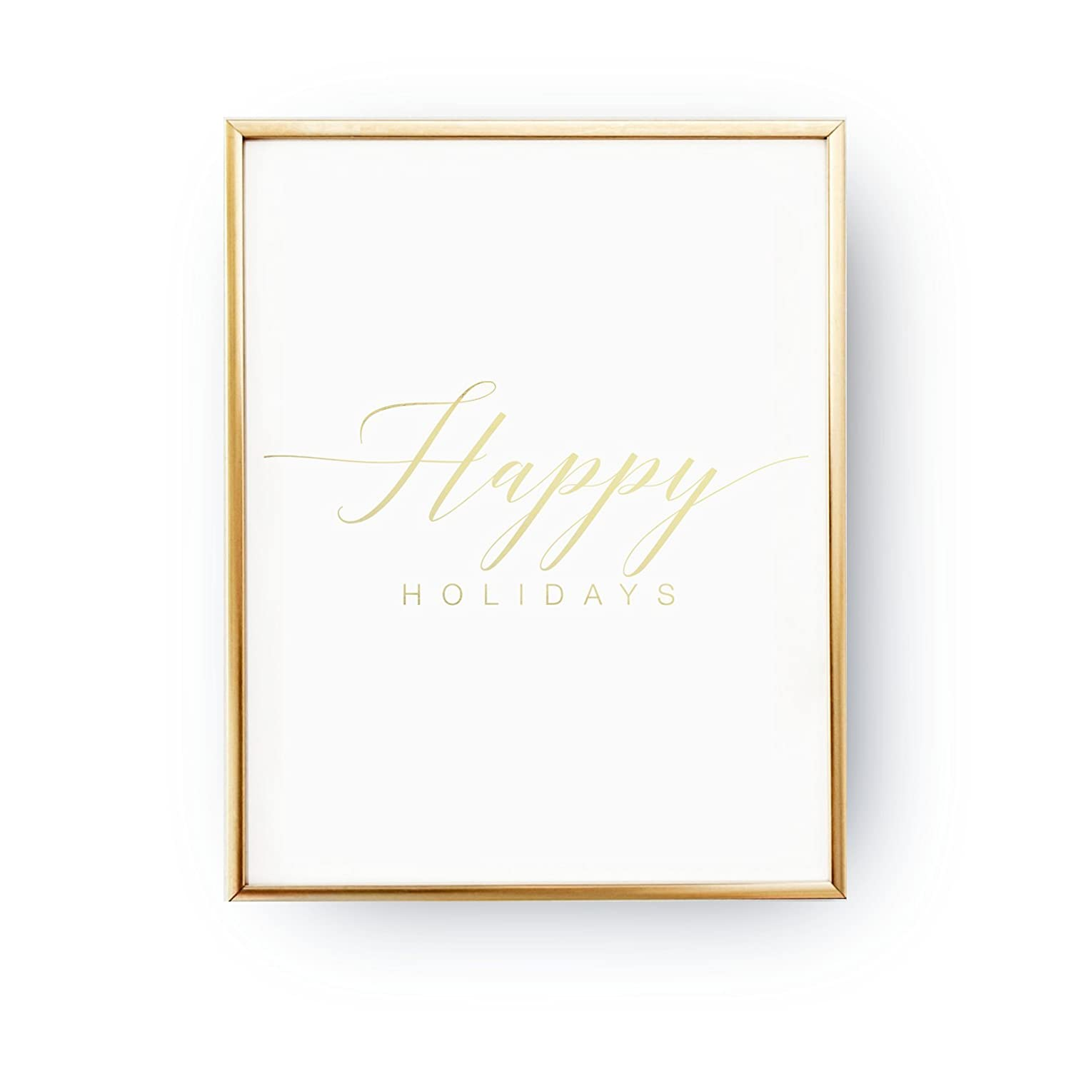 graphic regarding Happy Holidays Printable Card called : Satisfied Holiday seasons Print, Genuine Gold Foil, Christmas Artwork