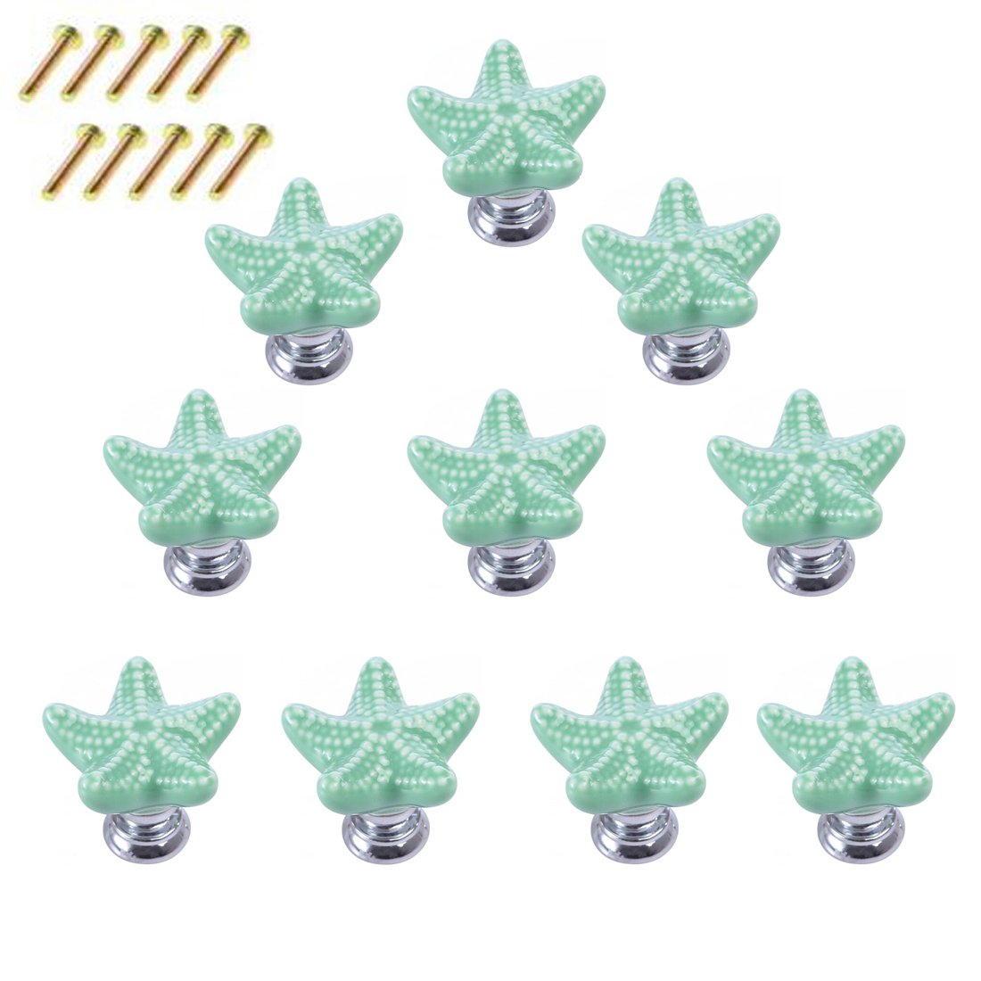 10 Pack Starfish Dresser Knobs,Haoun Starfish Ceramic Knobs Handles Pulls for Drawer Cabinet Dresser,with Screws - Green