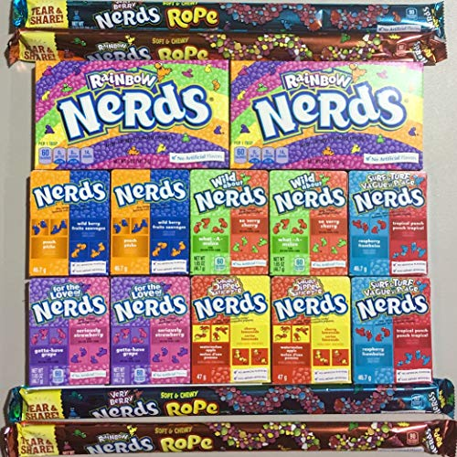 Nerds Variety Sack Bundle Featuring Rainbow Nerds, Nerds Rope, Double Dipped, Wild About Nerds, For The Love Of Nerds & More 16 Count -