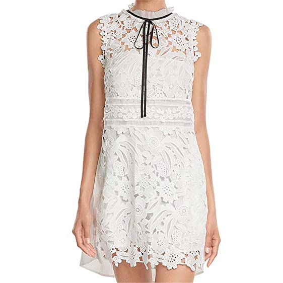 VFDFGN Boho Inspired guipure lace dress white watteau back frill neck black ribbon tie women summer