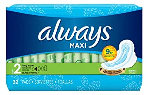 Always Pads Size 2 Maxi 32 Count Long Super 9 Hour (3 Pack)