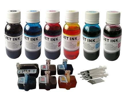 ND ™ Brand Dinsink 6 Refillable Cartridges for Hp 02 Photosmart C5180 C6180  C7180 C8180 C7280 C6280+6x4ozrefill ink +6 Syringe