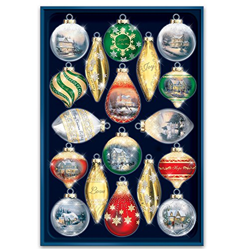 Thomas Kinkade Shimmering Splendor Christmas Ornaments with Keepsake Box: Set of 18 by The Bradford - Christmas Decoration Kinkade