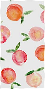 ZZAEO Seamless Watercolor Peaches Painted Fruit Towel Microfiber Hand Towel Ultra Lightweight Single-Sided Printing Fingertip Towel for Sport Gym for Both Adults and Kids-30 x 15 inches
