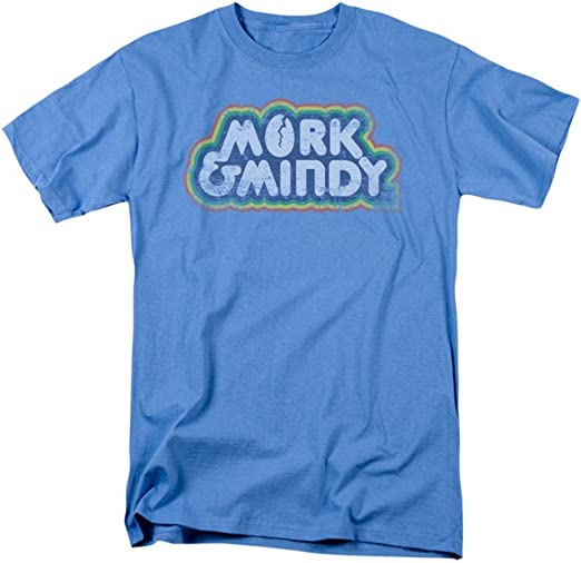 Mork /& Mindy TV Show DISTRESSED LOGO Licensed Adult T-Shirt All Sizes
